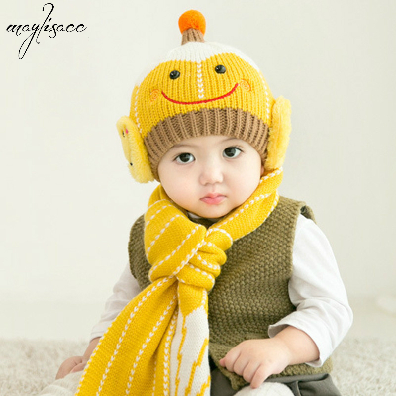 1-3Years Kid Autumn&winter Warm Children's Knitting Wool Ear Protection Hat Scarf Set Baby Cute Smiling Face 2 Pcs Scarf Hat Set