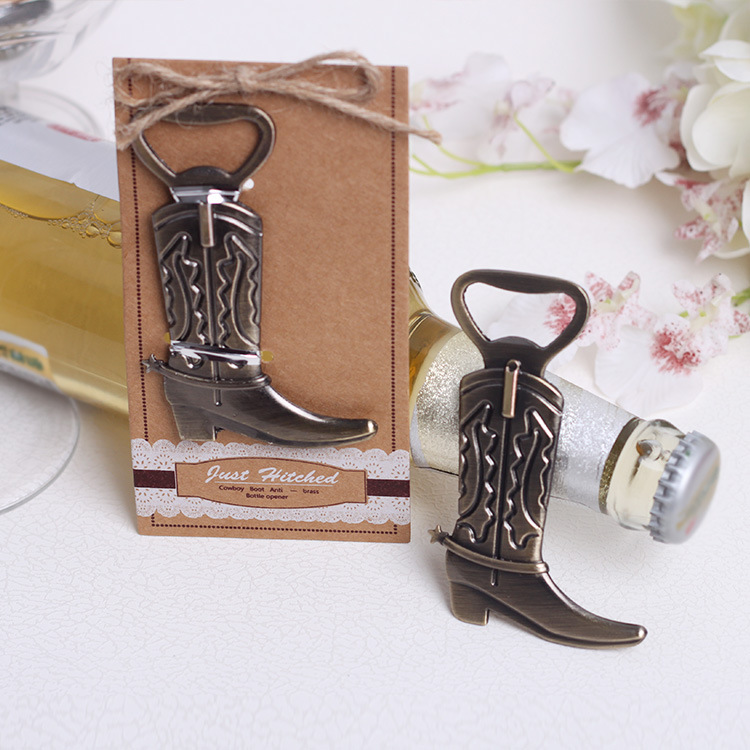 100 PCS Vintage Bronze cowboy boot shaped wine bottle opener wedding party favor guest gift Banquet present hitch