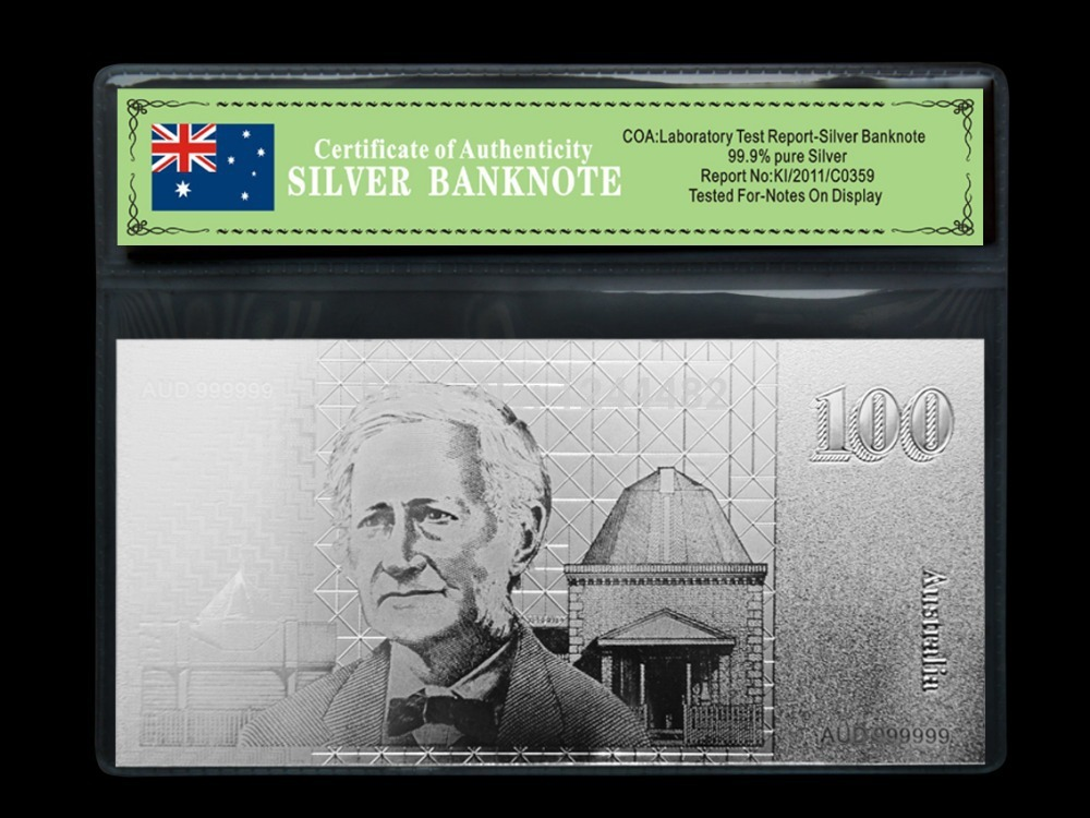 Sliver Plated Gold Banknote Old 100 AUD Sliver Banknote Craft Custom Sliver Paper Money Collection