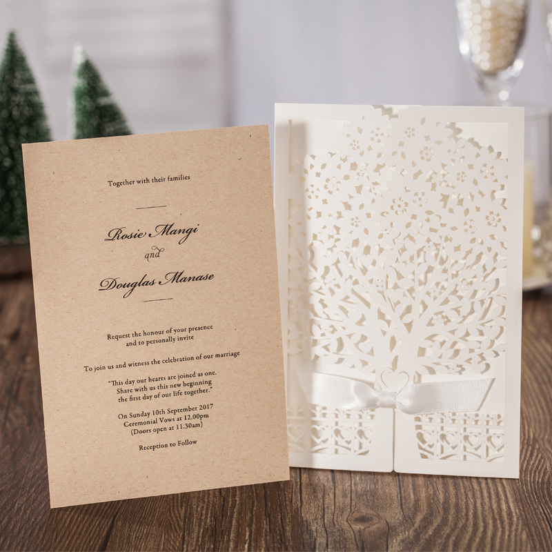 100PCS/lot Ivory Love Tree Laser Cut Wedding Invitations Cards with ...