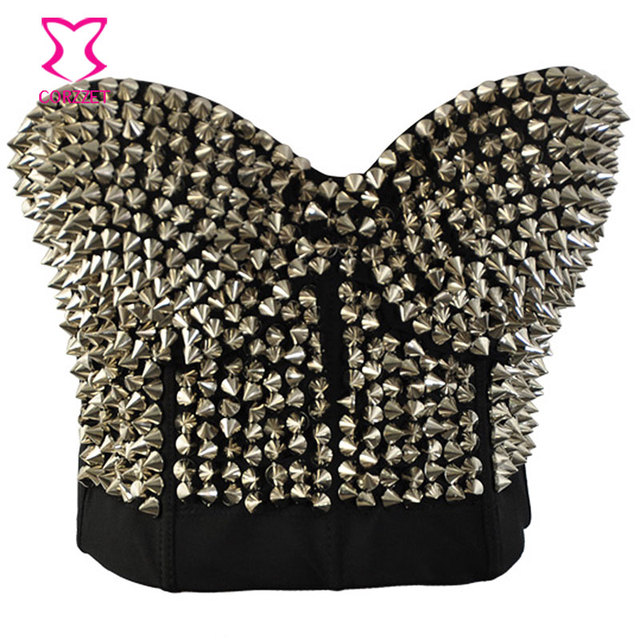 Striking Silver Metallic Rivet Studded Bras For Women Bustier Bra Push Up Spiked Bralette Soutien Gorge Sexy Brassiere Club Wear