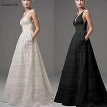 2018 Summer Women Sexy Lace Hollow Out Long Maxi Party Dress Plus Size Female Elegant Sleeveless V Neck Evening Party Dress 5xl sexy scoop neck sleeveless hollow out high slit plus size dress for women