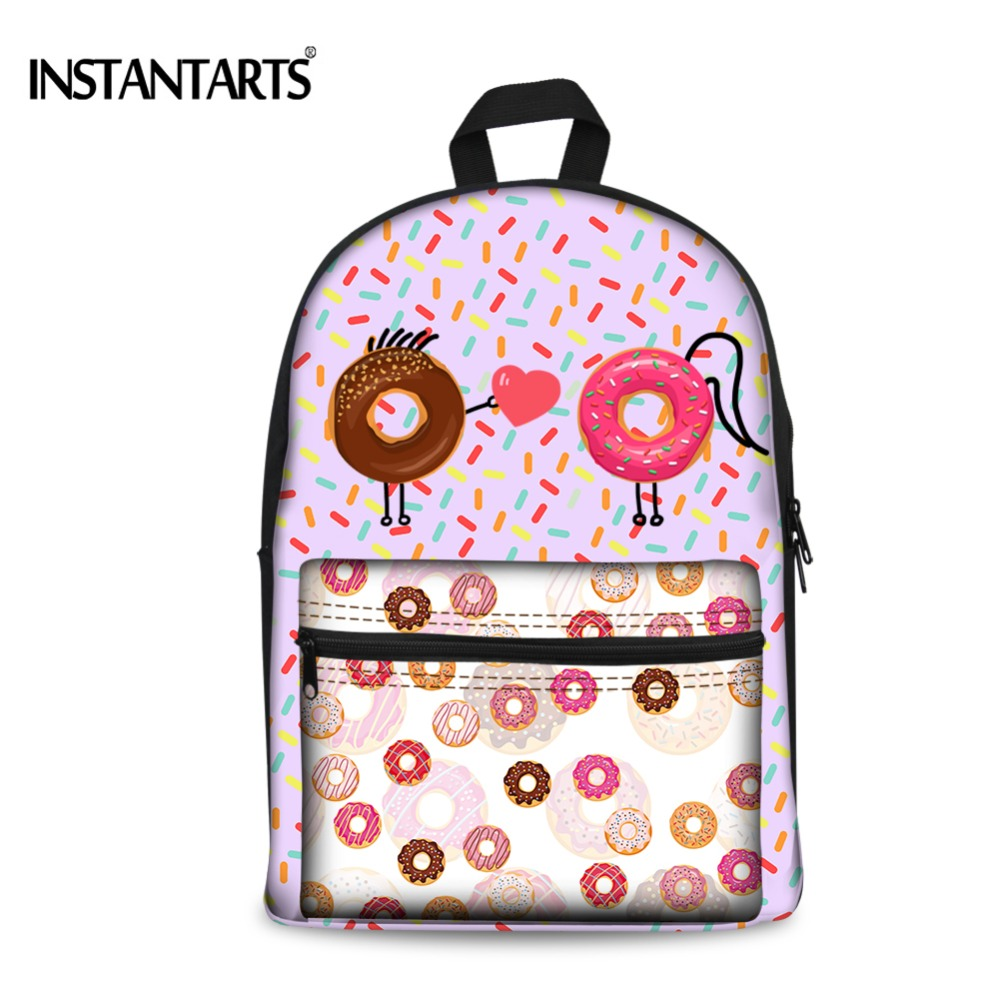 INSTANTARTS Candy Color Printing Backpacks for Teenager Girls Donut Canvas Women Rucksacks Casual Students Book Shoulder