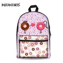 Instantarts Карамельный цвет печати Рюкзаки для подростка Обувь для девочек пончик холст Для женщин рюкзаки Повседневное студентов Книга сумка