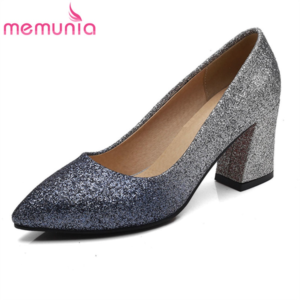 MEMUNIA spring autumn pumps women shoes med heels office simple high heels pointed toe fashion popular dress shoes memunia spring autumn popular genuine