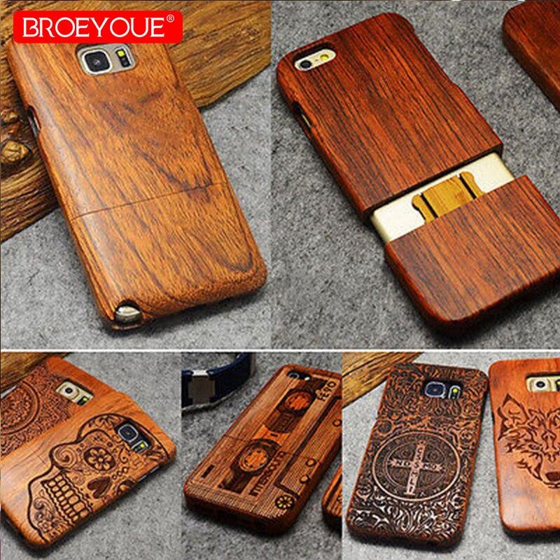 BROEYOUE Cas Pour Samsung Galaxy S8 S9 Plus S5 S6 S7 Bord Note 3 4 5 8 100% Cas En Bois Naturel Pour iPhone X 7 8 6 6 S Plus 5 5S SE