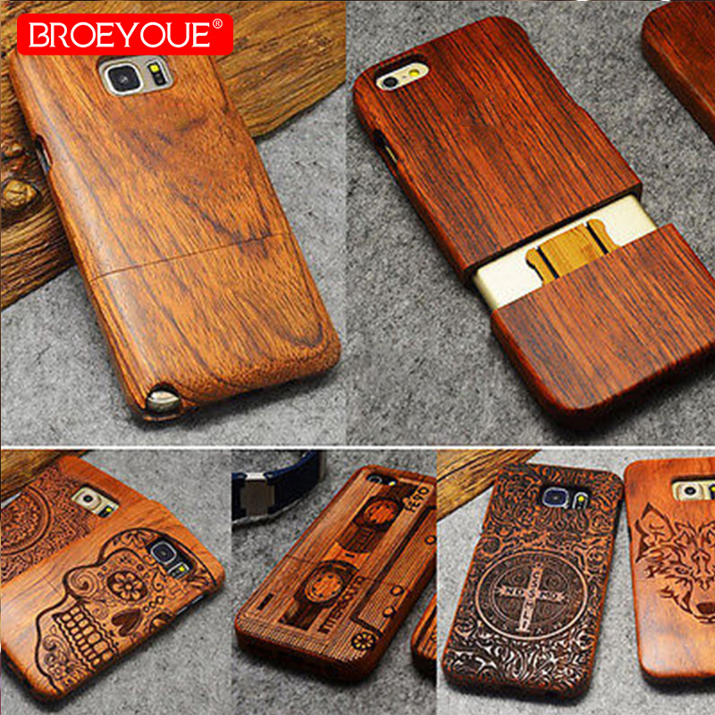 BROEYOUE Case For Samsung Galaxy S8 S9 Plus S7 Edge S5 S6 Note 3 4 5 8 100% Natural Wood Case For iPhone 5 5S SE X 7 8 6 6S Plus