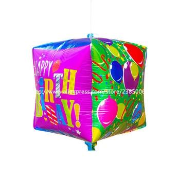 50pcs/lot 32*32*32cm Cube cube balloons aluminum balloons birthday party decoration ball  by balloons Decoration Theme Hotel