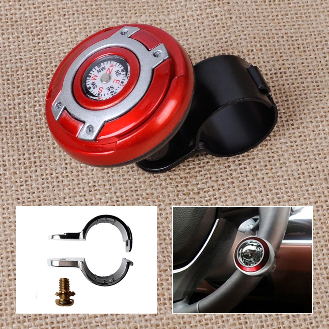 beler 2in1 Car Wheel Steering Power Handle Grip Knob Power Ball & Navigation Compass Strengthener Auto Spinner Knob Ball