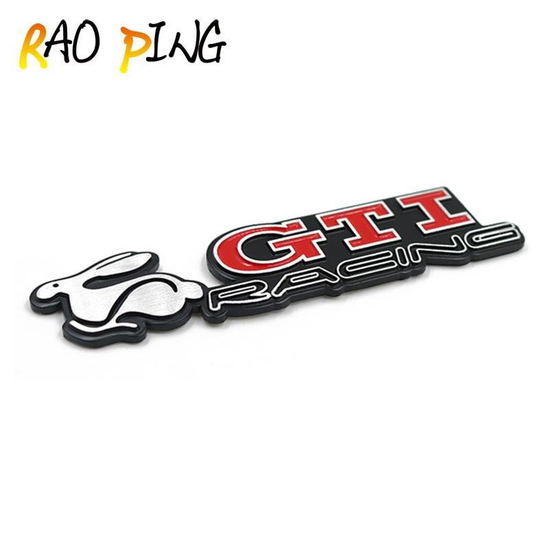 Raoping 3D Metal Sticker For Rabbit Golf GTI Decals Emblem Badge Car Trunk Decals For All Car Accessories Sticker Car Decoration