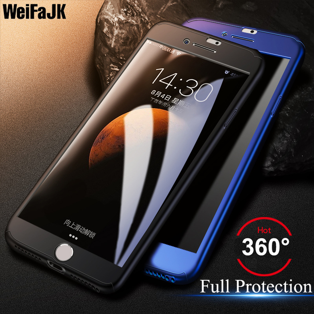 WeifaJK 360 Full Protection Case For iPhone 8 7 6 6s Plus Hard Plastic Back Cover For iPhone 6 6s 7 8 X Case With Tempered Glass