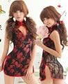 Sexy Cheongsam Lingerie Kimono Costume Set para as mulheres Babydoll Sleepwear Cheongsam Lingerie