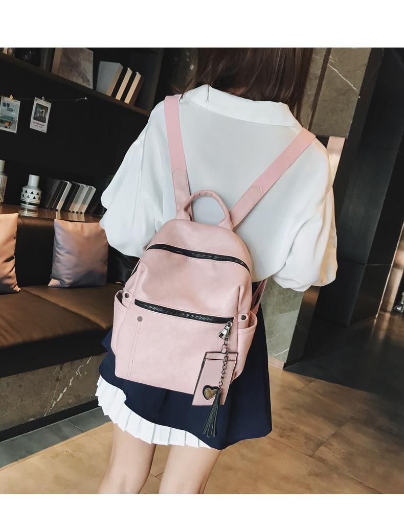 HTB1VKRqcL1G3KVjSZFkq6yK4XXaq Women Leather Backpack Teenage Girls School Bag Female Vintage Large Solid Soft Backpacks Mochila Black Back Pack Bags New XA86H