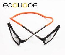 EOOUOOE Magnet Design TR90 Glasses Frame Black Metal Power Reading Glasses +100 +150 +200 +250 +300 +350