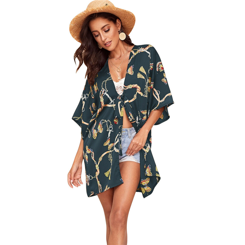 Women's Kimono Cardigan Boho Beach Bikini Cover Up Dress Summer Fashion Top Long Blouse 2019 Vintage Print Ladies Casual Clothes