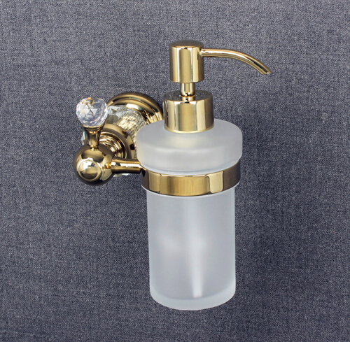 Luxury Crystal Wall Mounted Liquid Soap Dispenser With Gold Finish+Frosted Glass bottle Bathroom <font><b>Accessories</b></font>