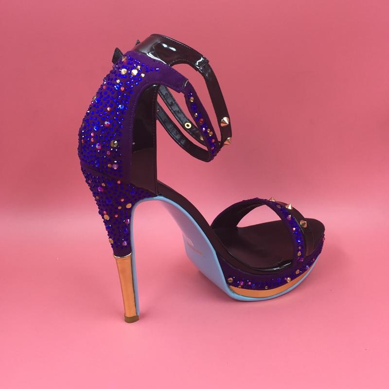 Pie Más Ladie Tacón Diamantes Verano Azul Tobillo Mujeres Las Zapatos 2016 Del Plataforma De Imitación Nuevo Tamaño Abierto Gamuza Sandalias Dedo Para aapTZnP