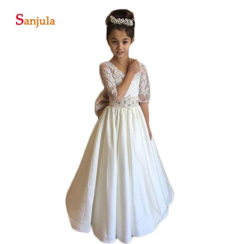 Ivory Satin   Flower     Girls     Dress   Half Sleeve A-Line Beaded Waist Appliques Children Pageant Party Gowns Open Back D115