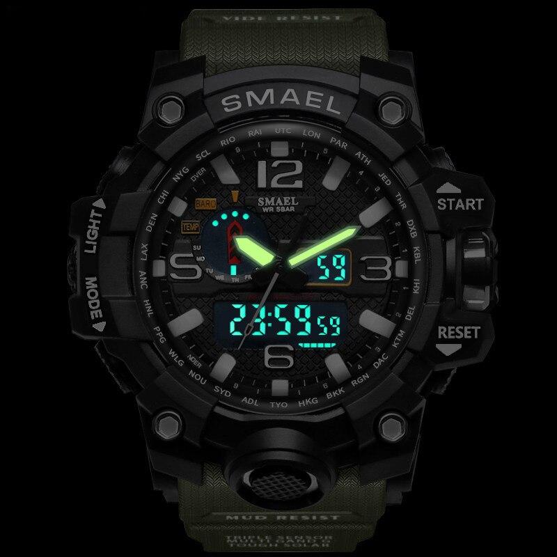 SMAEL 2019 Men's Sport Wrist Watch Military Waterproof Man Dual Display Analog Digital Watch electronic Clock erkek kol saati (3)