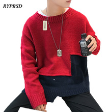 Patchwork Sweaters Men New 2017 Round Neck Fashion Sweaters Male Casual Patchwork Mens Knitted Sweaters Male 3 Colors