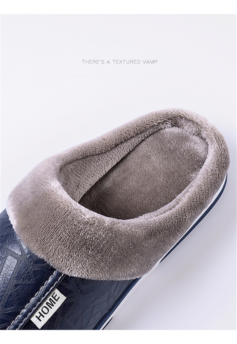 HTB1VKSMaErrK1RkSne1q6ArVVXaV - ASIFN Men's slippers Winter slippers Non slip Indoor Shoes men leather Big size House shoe Waterproof Warm Memory Foam Slipper