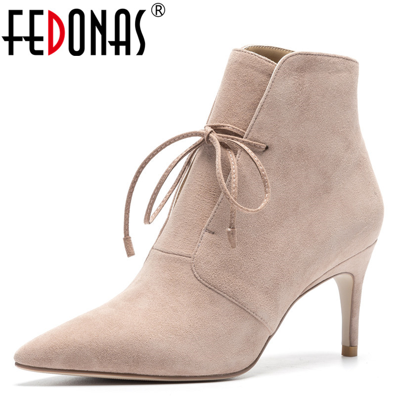FEDONAS 1New Arrival Women Ankle Boots Autumn Winter Warm Thin Heels Shoes Woman Pointed Toe Sexy Suede Leather Cross-tied Pumps цена 2017