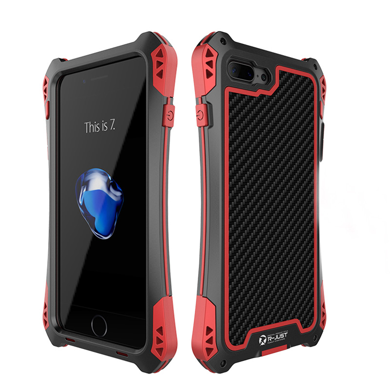 imágenes para Lujo Metal de Aluminio Caso Para Apple iphone 7 Más Caso de la Armadura de Fibra de Carbono Para Apple Caso A Prueba de Golpes Más coque iPhone7 iPhone7