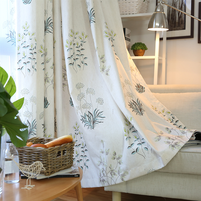 Rustic Floral Cotton Linen Curtains Sheer Tulle For
