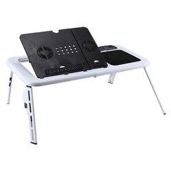 Laptop Schreibtisch Faltbare Tabelle e-Tisch Bett USB Cooling Fans Stehen TV Tablett