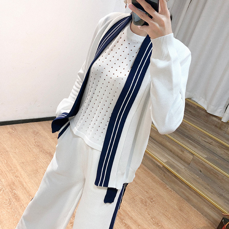 Knitted Cotton 3 Pieces Set Tracksuit Long Sleeve Cardigan Sleeveless Pullover Tops Pocket Wide Leg Pants