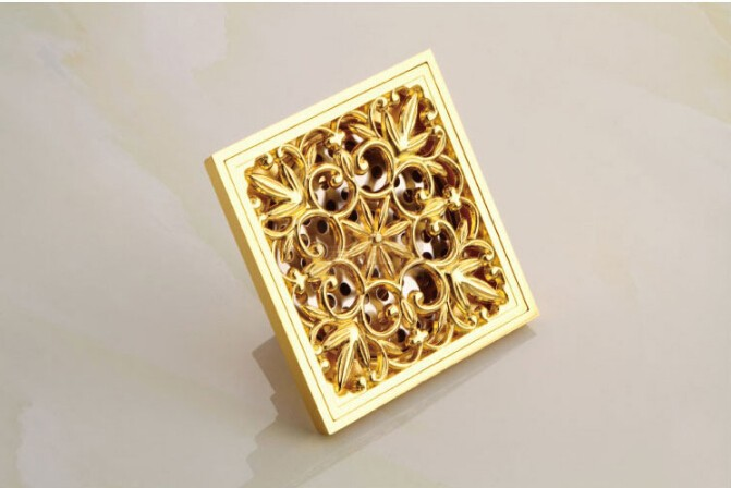 Wholesale and retail Europe style high quality brass art carved gold square 10*10cm size deodorization floor drain waste drain free shipping europe style high quality brass art carved flower gold square 4 size deodorization floor drain waste drain