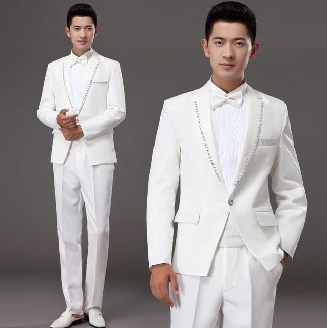 White korean diamond married formal dress set mens suits wedding ...
