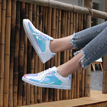 WADNASO Fashion Sequined Women Flats Spring Lace Up Round Toe Flat Shoes Woman Low Top Casual Shoes Supperstar Sneakers TT002 woman sneakers metallic color woman shoes front lace up woman casual shoes low top rivets embellished platform woman flats brand