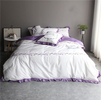 Purple Lavender Bedding Set egyptian Cotton Duvet Cover Flat Sheet Pillowcase Comforter Embroidery Bed Set Queen King Size