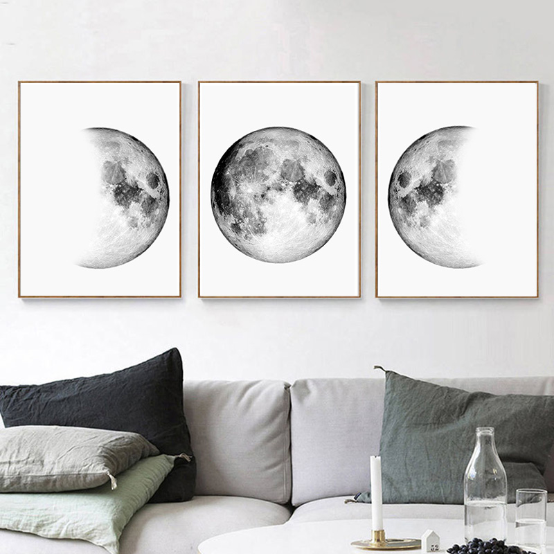 us $6.76 38% off|minimalist canvas paintings moon phases wall art black  posters and white prints earth pictures for bedroom living room decor-in