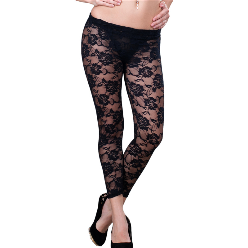 T2080/T2081 New brand ohyeah fashion design lace pants novelty style black and white leggings ...