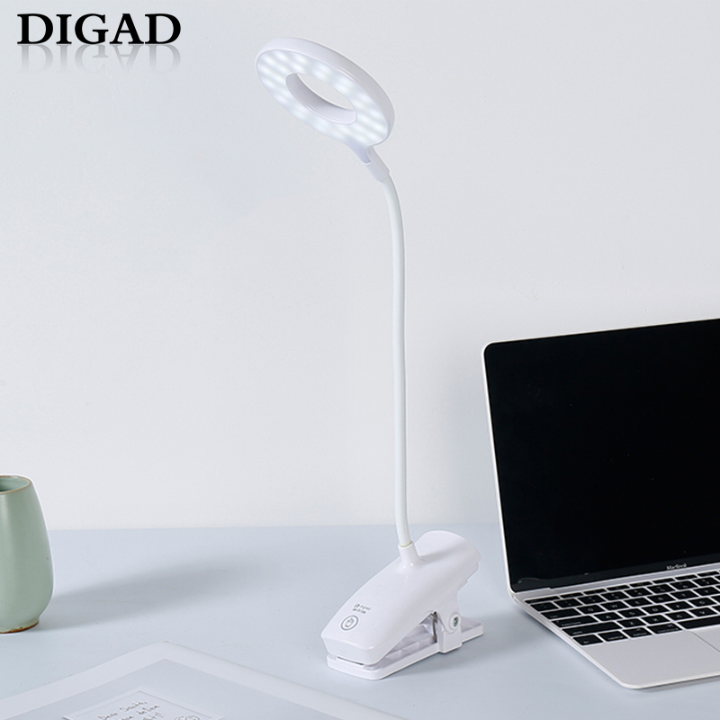 Digad 28LED Lamp Beads Touch On/off Switch 3 Modes Clip Desk Lamp Eye Protection Reading Dimmer Rechargeable USB Led Table Lamps