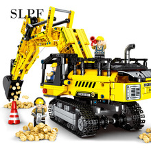 Toys For Children Mechanical Excavator Model Kit Compatible Legoing Educational Assembling Diy Kids Building Blocks Brick ToyI65