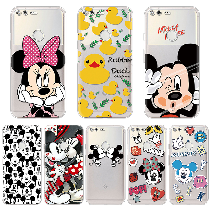 Soft Cover For Fundas Google Pixel Case Animal Minnie Mickey Pattern Protective Silicone Back Bags Coque Ultra Thin Cute