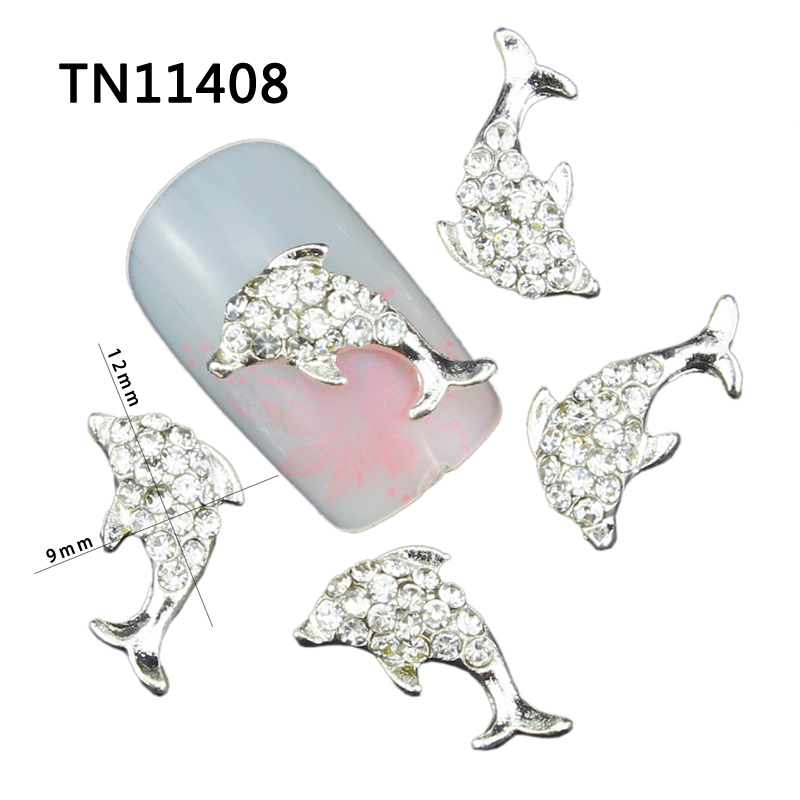 3D Nail Glitter Manicure Jewelry Dolphin Silver Design Alloy Clear Rhinestones Decorations For Charms Nail Tools TN1408 10pcs pack glitter green rhinestones nail art decorations alloy 3d nail jewelry charms nails tools free shipping