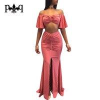 Hilove Long Maxi Dress Women Summer Two Piece Ruffles Off Shoulder Dresses Front Split Elegant Ladies