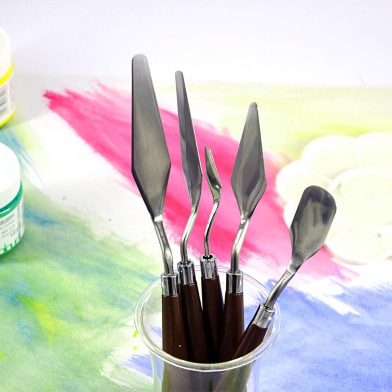 5 шт., профессиональный набор шпателей из нержавеющей стали, палитра для рисования маслом, нож, набор инструментов для рисования, набор гибких лезвий#20