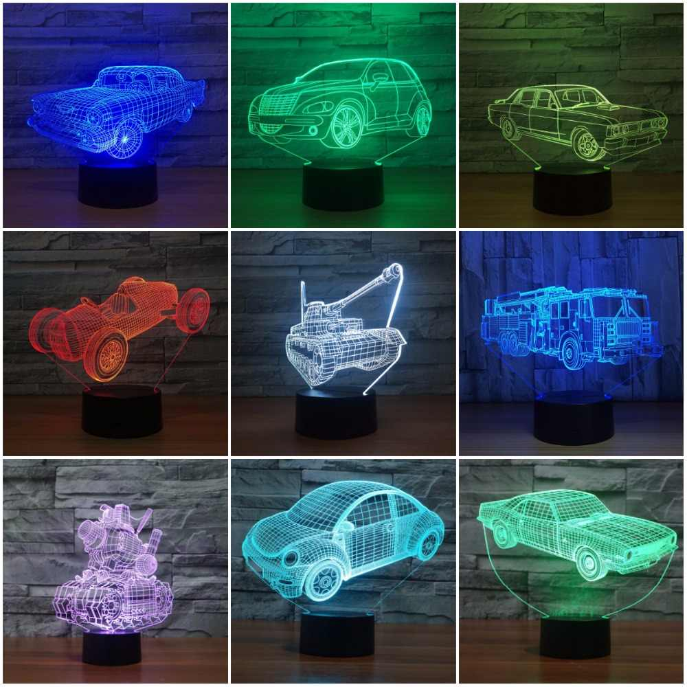 Novelty led light Car 3D Visual Night Light 7 Colors Changeable Desk Lamp  Touch Switch USB 219f64eb2b91