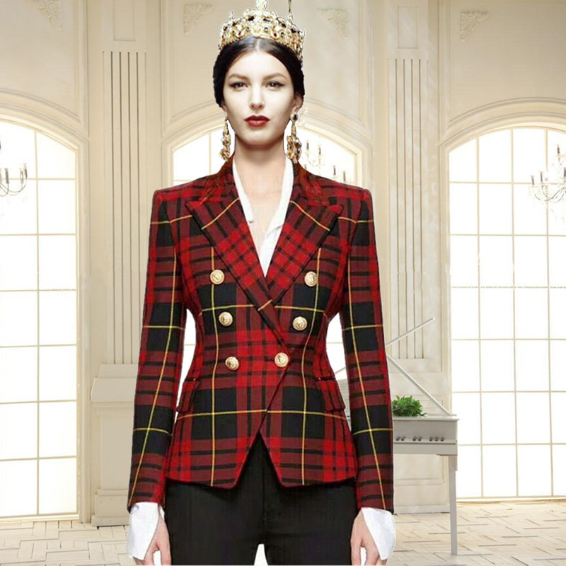 High quality 2018 new women autumn winter runway fashion double breasted plaid print full sleeve slim suit jacket outwear D301