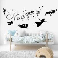 Мультфильм Питер Пэн никогда не вырастет Цитата Наклейка на стену детская комната Питер Пэн динкербелл Звезда стикер на стену спальня вини...