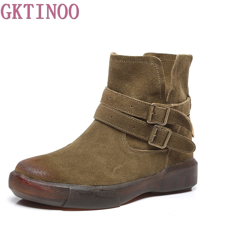 GKTINOO Women Ankle boots Flats Shoes Cow Suede Genuine Leather Boots Slip On Ankle Strap Buckle Boots Female Casual Shoes amourplato womens handmade pointed toe ankle wrap flats bridesmaid ballerinas ankle strap flats shoes with buckle size5 13