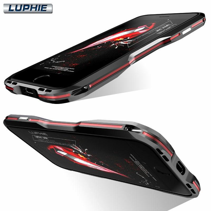 imágenes para LUPHIE Costura Doble de Color de Lujo De Aluminio de Parachoques del Metal para iPhone 7 Plus Cubierta Del Teléfono Capinha Coque Negro Rojo Plata oro