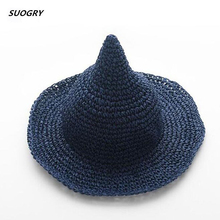 SUOGRY Childrens Summer Straw Hat little Girl Pointed Cap Peaked Children Visor