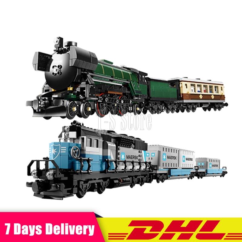 LEPIN 21005 Emerald Night Train Expert +21006 Maersk Train Model Building Blocks Bricks Set Compatible Legoinglys 10219 10194