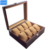 Watch Store Display Wristwatch Case Box Large Wood Paint Inner Velvet Pillow Display Acrylic Top Jewelry